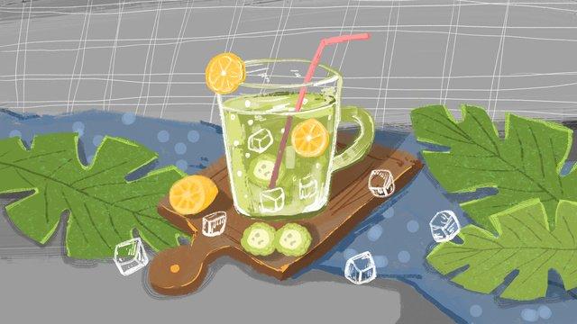 夏日清涼冰爽果汁 插畫素材 插畫圖片