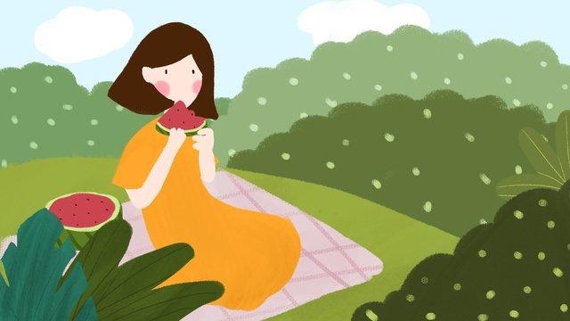여름 먹는 수 박 소녀 잔디 작은 신선한 그림지도와 함께 치료 삽화 소재