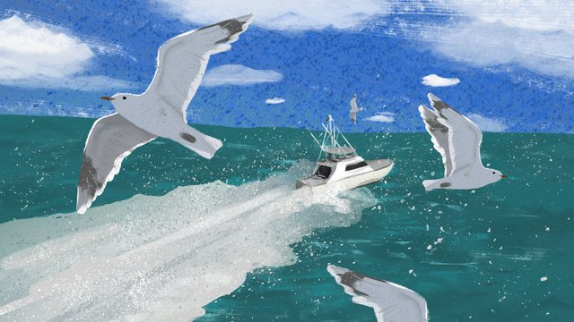 Summer hello yacht seagull sea travel, Summer, Summer, Hello There illustration image