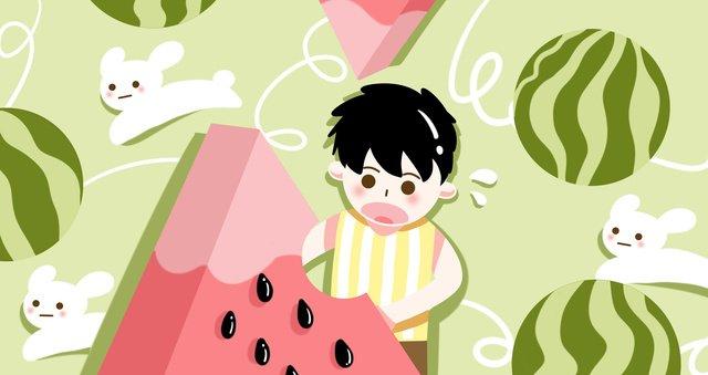 夏天場景西瓜小男孩可愛原創插畫 插畫素材