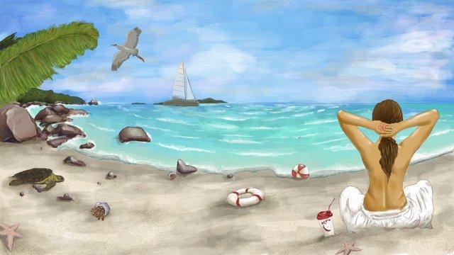 Свежий летний морской праздник пляж фестиваль вектор оригинальные иллюстрации Ресурсы иллюстрации