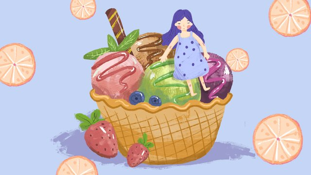 Hello summer ice cream girl illustration llustration image