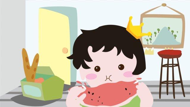 तरबूज खाने वाला लड़का चित्रण छवि