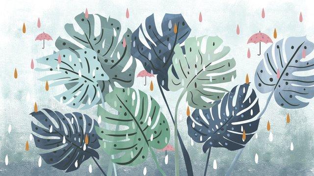 夏こんにちはオリジナルイラスト新鮮な雨の日 イラスト素材