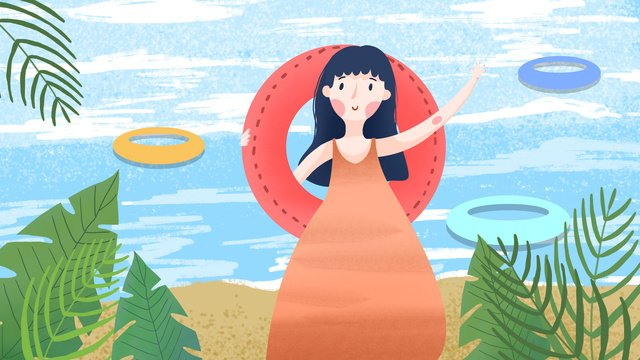 夏天你好帶著泳圈去游泳 插畫素材 插畫圖片