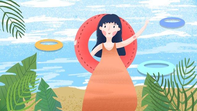 夏天你好帶著泳圈去游泳夏天  夏季  SummerPNG和PSD圖片素材 illustration image