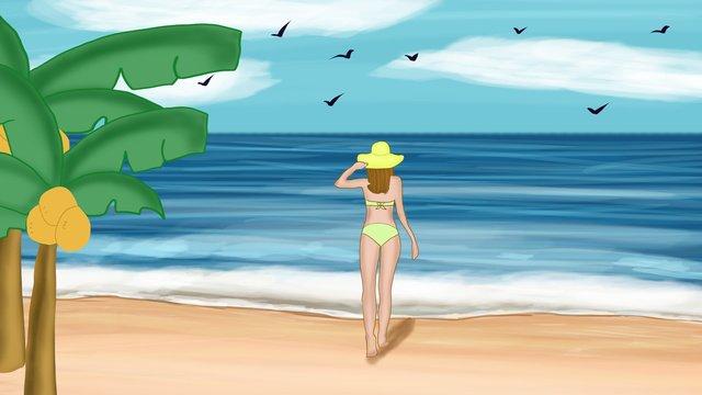 夏暑い夏のビーチ風景ビキニガールオリジナルイラスト イラスト素材