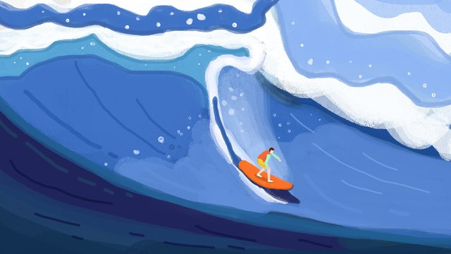 원래 그림 안녕하세요 여름에 서핑을하기 위해 바다에 와서 삽화 소재 삽화 이미지