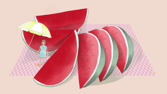 Simple and fresh summer watermelon with cool girl, Summer, Summer, Watermelon illustration image