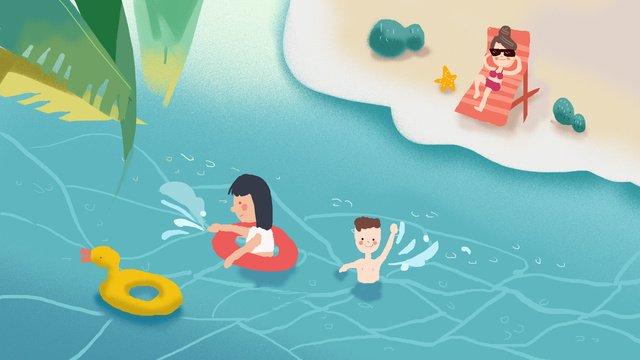 Summer swimming small fresh illustration, Summer, Swim, Seaside illustration image