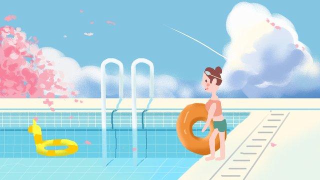 Summer swimming small fresh illustration, Summer, Swim, Small Fresh illustration image