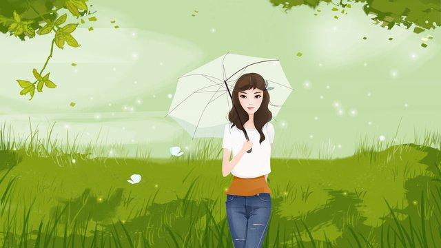 夏こんにちは傘の女の子小さな新鮮な手描き イラスト素材 イラスト画像