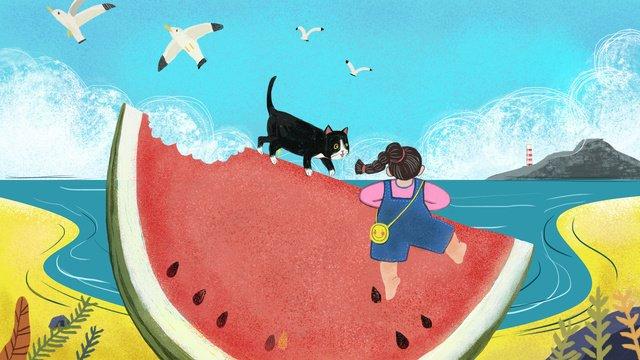 Cute girl watermelon creative summer cartoon illustration design, Summer, Watermelon, Beach illustration image