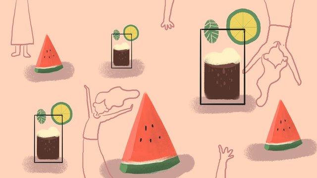 夏日之光西瓜冰飲 插畫素材 插畫圖片