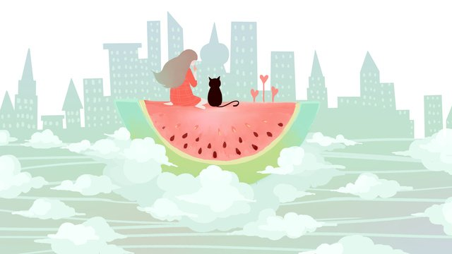 Original small fresh illustration (summer with watermelon is paradise), Summer, Watermelon, Sky illustration image