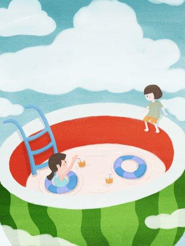 गर्मियों में तरबूज पूल का मूल चित्रण चित्रण छवि