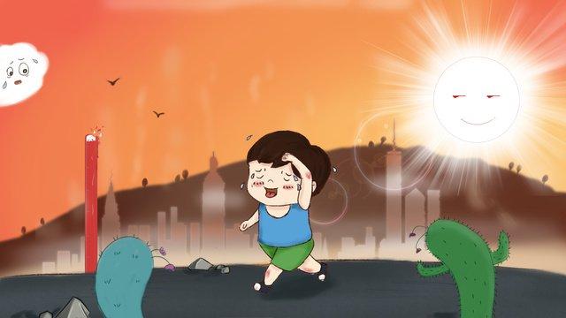 太陽の下で暑い走っている人 イラストレーション画像 イラスト画像