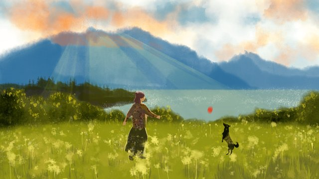 Sunset twilight lakeside meadow hyena girl hand drawn illustration, Sunset, Twilight, Lakeside illustration image