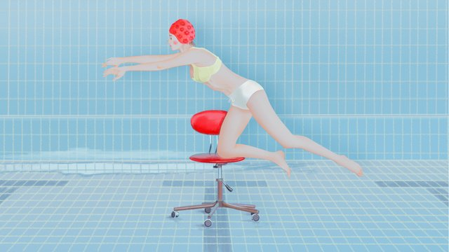original illustration of a girl playing in the summer swimming pool llustration image