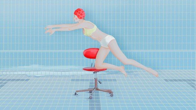 盛夏游泳池裡嬉戲的女孩原創插畫游泳  盛夏  女孩PNG和PSD圖片素材 illustration image
