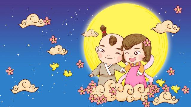 Dia dos namorados chinês cowherd e weaver menina roaming sob o luar mão ilustrações desenhadasTanabata  77  Cowherd PNG E PSD illustration image