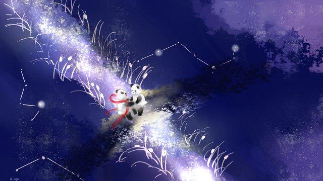 七夕橋会議かわいいイラスト七夕  ブリッジ会議  パンダ PNGおよびPSD illustration image