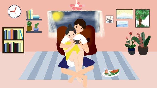 tanabata couple home life llustration image