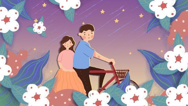 Chinese valentines day couple illustration llustration image