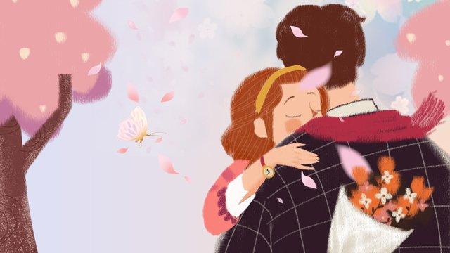 男性と女性の下のqixiフェスティバルロマンチックな桜抱擁治療小さな新鮮なイラスト イラスト素材 イラスト画像