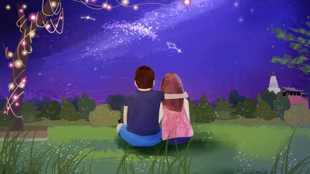 Tanabata valentines day with you to watch the starry sky hand drawn illustration, Tanabata, Happy, 77 illustration image