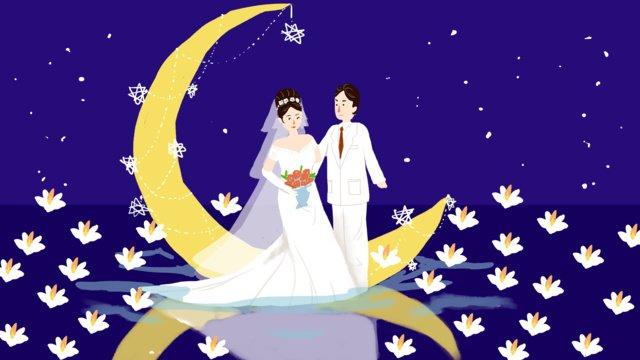 modern qixi wedding tour lake night view small fresh original hand painted illustration llustration image illustration image