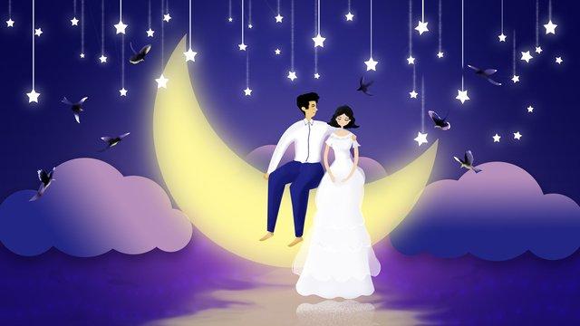 original night starry sky festival couple valentines day llustration image illustration image