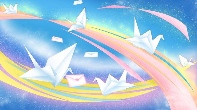 तनाबाटा पेपर क्रेन प्यार पत्र इंद्रधनुष पेपर कट चित्रण वॉलपेपर भेजते हैं चित्रण छवि