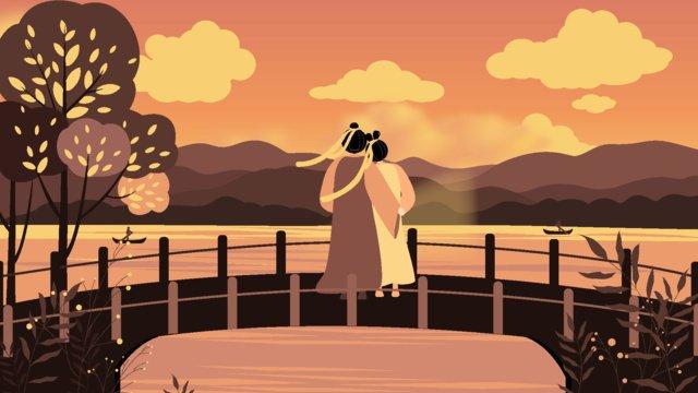 七夕の湖の夕日のイラスト イラスト素材