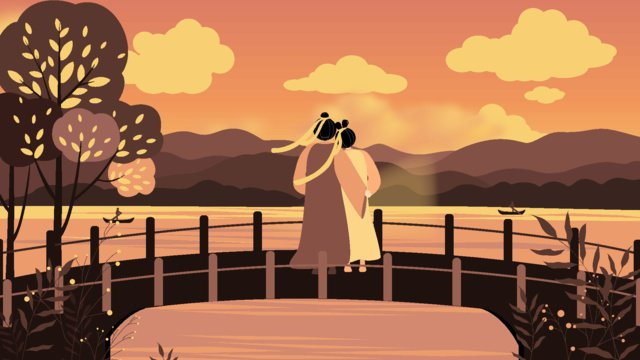 Sunset illustration of the lake at tanabata, Tanabata, Valentines Day, Lakeside illustration image
