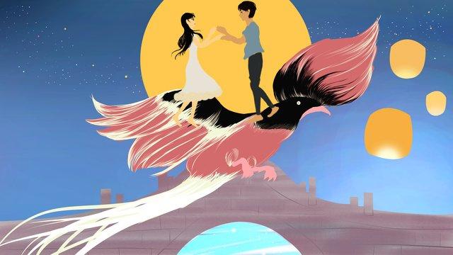 Chinese valentines day llustration image illustration image