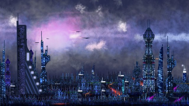 original future technology wind city concept painting llustration image