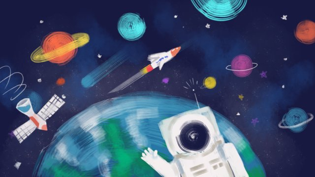 Science roaming space technology - graffiti line style original hand-painted, Technology, Science, Space illustration image