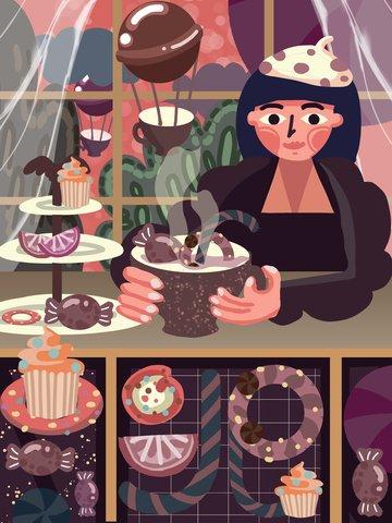 두꺼운 선 사실주의 오후의 차 디저트 소녀 케이크 맛있는 삽화 소재 삽화 이미지