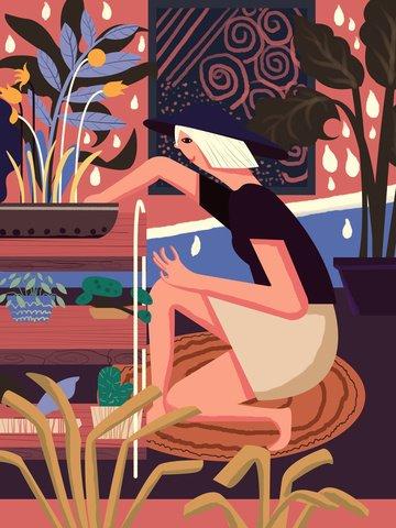 두꺼운 선 사실주의 꽃 집 여자 그림 삽화 소재 삽화 이미지