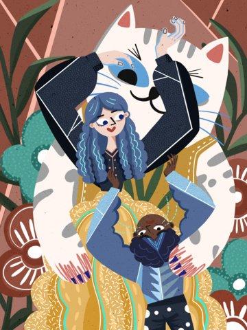 두꺼운 선 현실주의 소녀와 고양이 판타지 그림 삽화 이미지