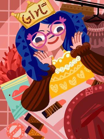 두꺼운 선 현실주의 드레싱 테이블 앞의 여자 일러스트 레이션 삽화 소재 삽화 이미지