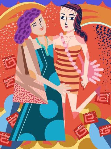 두꺼운 선 현실주의 여자 친구 쇼핑 치마 패션 일러스트 레이션 삽화 소재 삽화 이미지