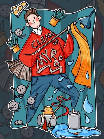 thủy triều người đàn ông thịt tươi cậu bé năm mới quét bụi sáng tạo áp phích vẽ tay minh họa Hình minh họa