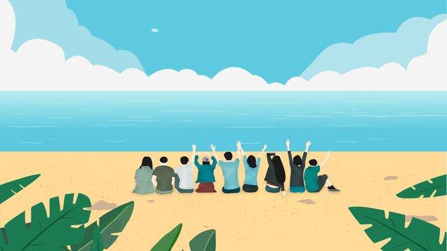 海邊春遊聚會原創插畫 插畫素材 插畫圖片