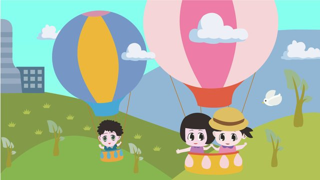Travel around the world in a hot air balloon, Tourism, Travel, Hot Air Balloon illustration image