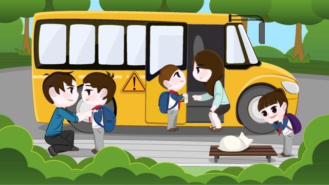 両親と学生の交通安全オリジナルイラスト イラスト素材 イラスト画像