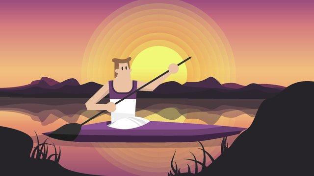 划船旅行风景矢量插画旅行  划船  紫色背景PNG和矢量 illustration image