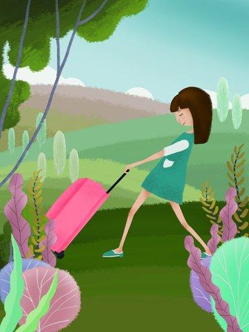 本旅行を運ぶスーツケースを持つ子供のイラストオリジナルイラスト女の子 イラスト素材