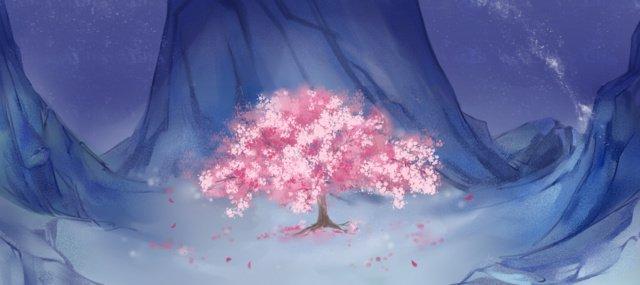 バレーシングルツリー夜背景の風景 イラストレーション画像 イラスト画像